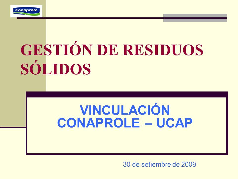 GESTIÓN DE RESIDUOS SÓLIDOS VINCULACIÓN CONAPROLE – UCAP 30 de setiembre de 2009