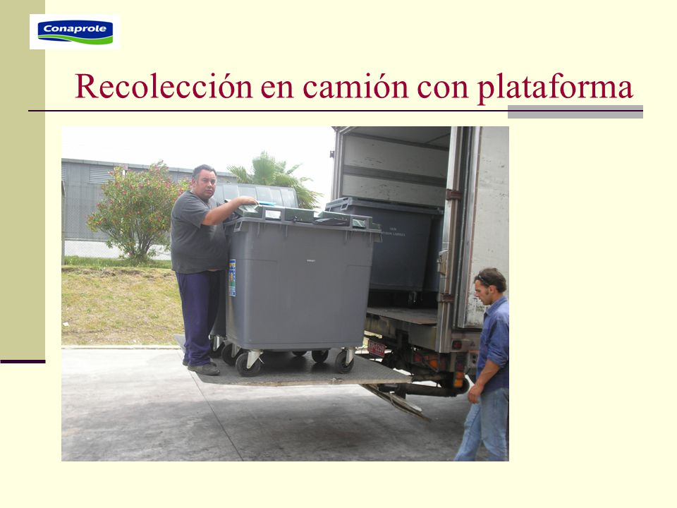 Recolección en camión con plataforma