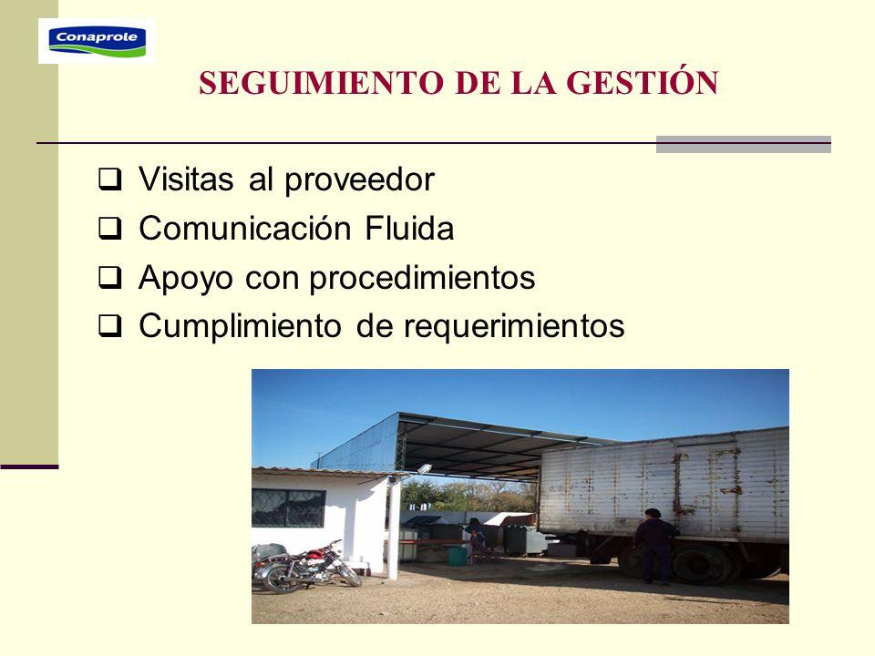 SEGUIMIENTO DE LA GESTIÓN  Visitas al proveedor  Comunicación Fluida  Apoyo con procedimientos  Cumplimiento de requerimientos