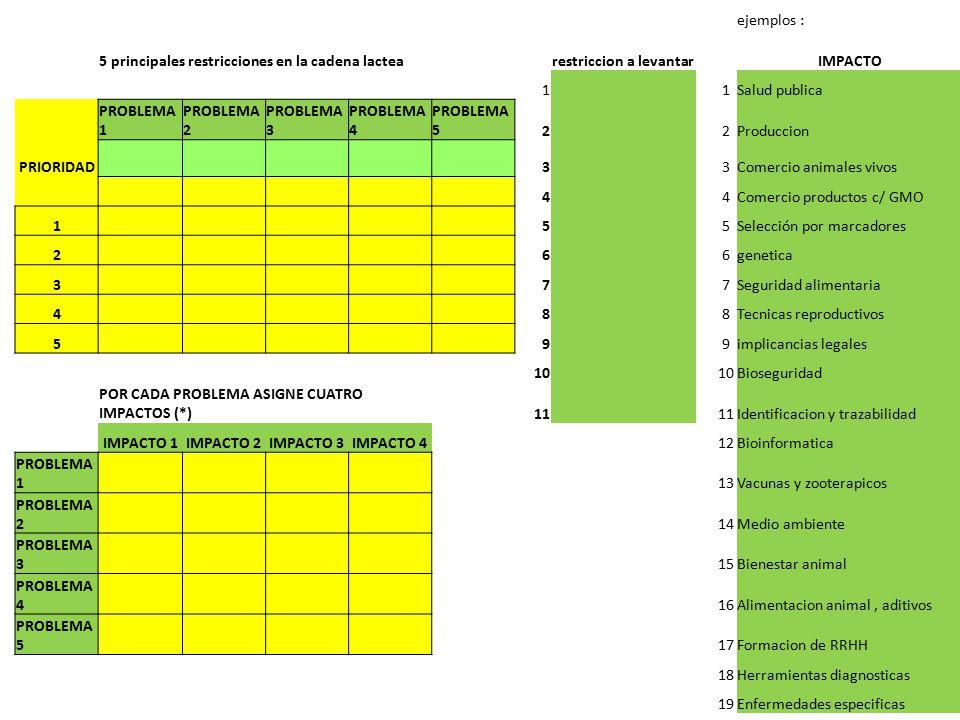 ejemplos : 5 principales restricciones en la cadena lactearestriccion a levantar IMPACTO 1 1Salud publica PROBLEMA 1 PROBLEMA 2 PROBLEMA 3 PROBLEMA 4 PROBLEMA 52 2Produccion PRIORIDAD 3 3Comercio animales vivos 4 4Comercio productos c/ GMO 1 5 5Selección por marcadores 2 6 6genetica 3 7 7Seguridad alimentaria 4 8 8Tecnicas reproductivos 5 9 9implicancias legales 10 Bioseguridad POR CADA PROBLEMA ASIGNE CUATRO IMPACTOS (*)11 Identificacion y trazabilidad IMPACTO 1IMPACTO 2IMPACTO 3IMPACTO 412Bioinformatica PROBLEMA 1 13Vacunas y zooterapicos PROBLEMA 2 14Medio ambiente PROBLEMA 3 15Bienestar animal PROBLEMA 4 16Alimentacion animal, aditivos PROBLEMA 5 17Formacion de RRHH 18Herramientas diagnosticas 19Enfermedades especificas 20 (*) Si los hay