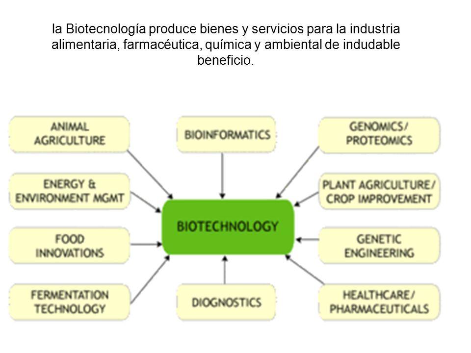 la Biotecnología produce bienes y servicios para la industria alimentaria, farmacéutica, química y ambiental de indudable beneficio.