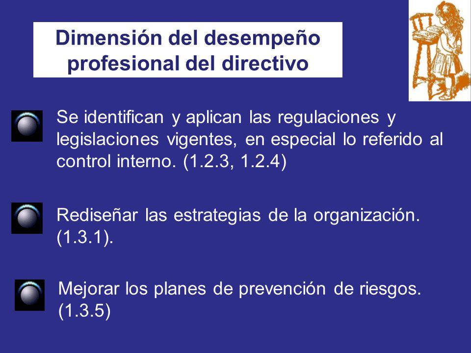 Dimensión del desempeño profesional del directivo Rediseñar las estrategias de la organización.
