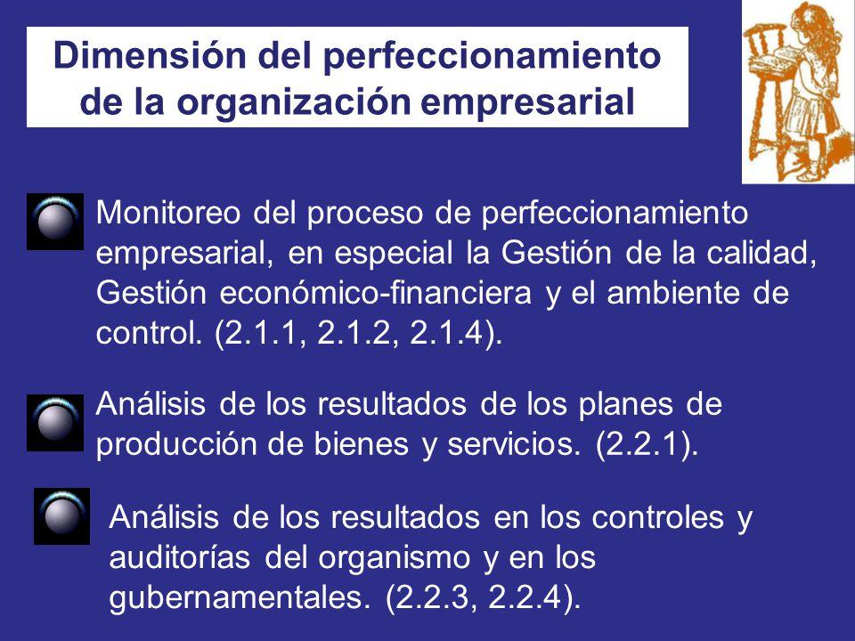 Dimensión del perfeccionamiento de la organización empresarial Monitoreo del proceso de perfeccionamiento empresarial, en especial la Gestión de la calidad, Gestión económico-financiera y el ambiente de control.
