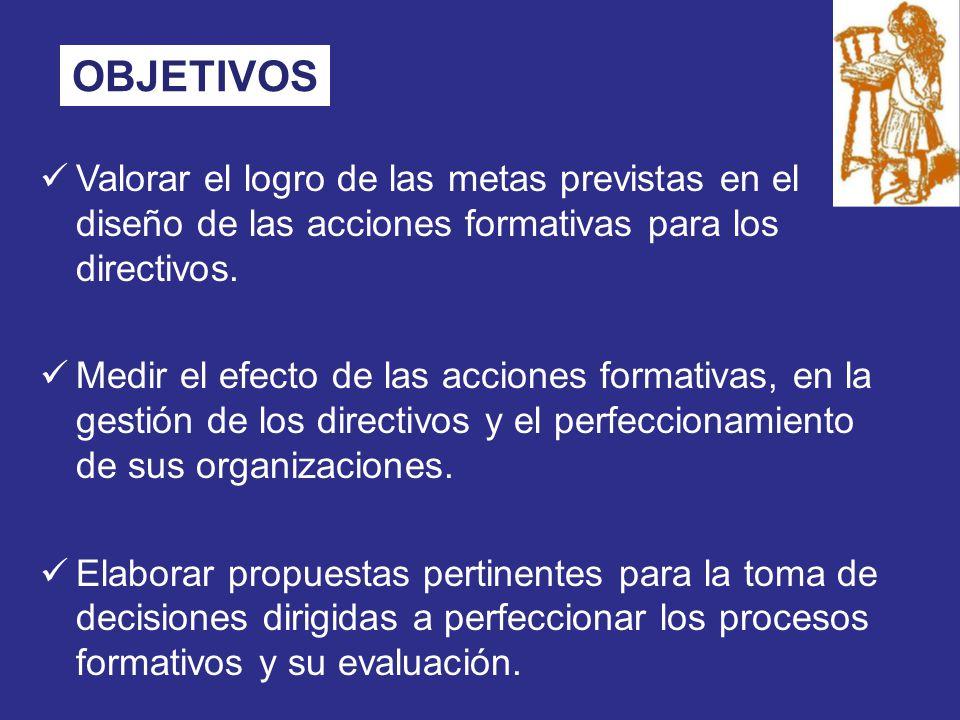 OBJETIVOS Valorar el logro de las metas previstas en el diseño de las acciones formativas para los directivos.