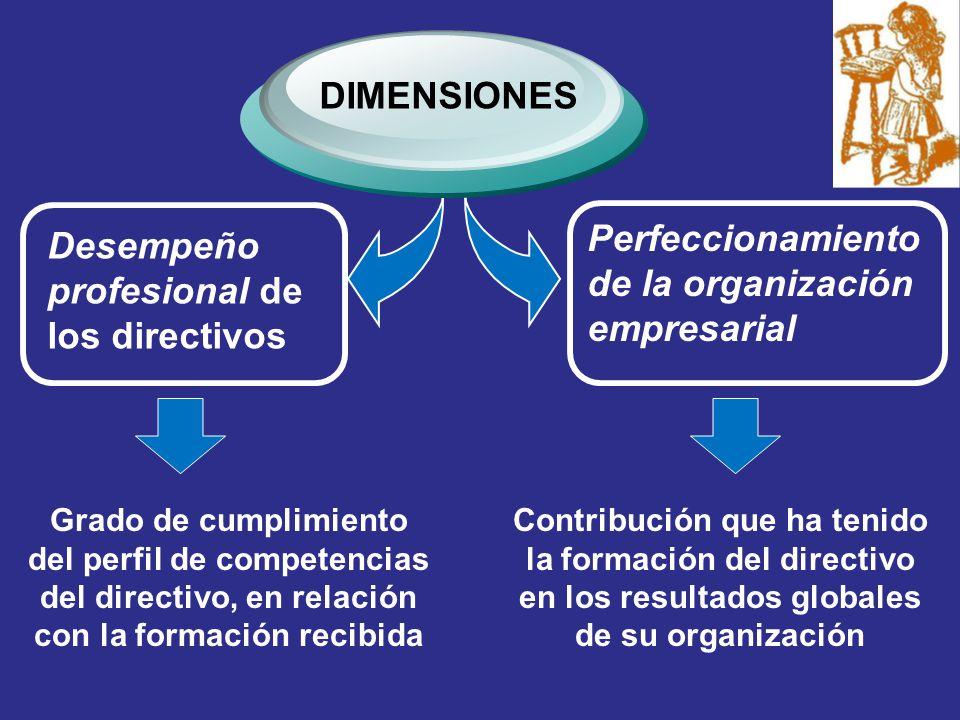 Desempeño profesional de los directivos DIMENSIONES Perfeccionamiento de la organización empresarial Grado de cumplimiento del perfil de competencias del directivo, en relación con la formación recibida Contribución que ha tenido la formación del directivo en los resultados globales de su organización