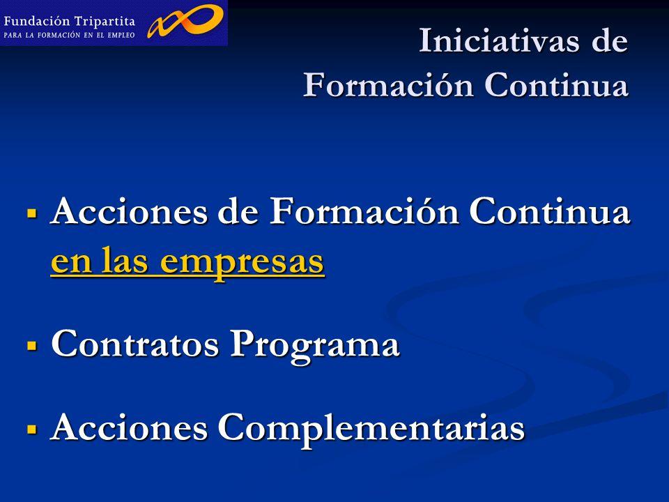 Iniciativas de Formación Continua  Acciones de Formación Continua en las empresas  Contratos Programa  Acciones Complementarias