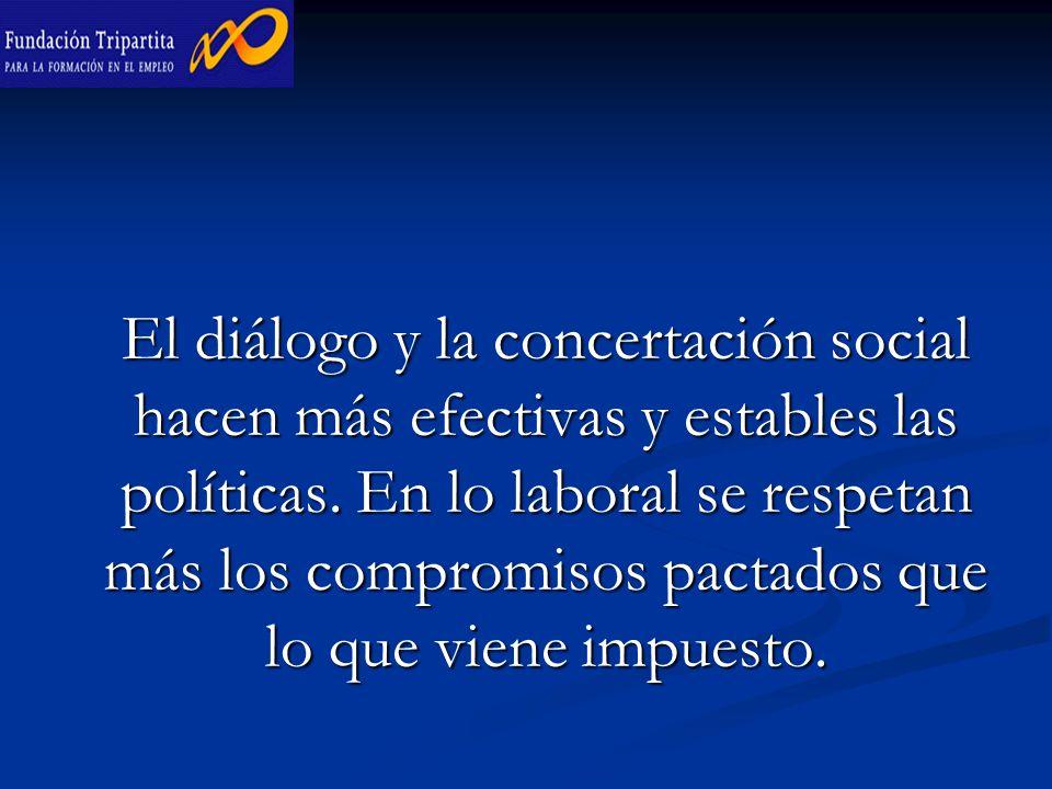 El diálogo y la concertación social hacen más efectivas y estables las políticas.