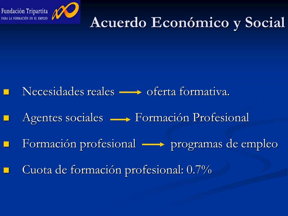Acuerdo Económico y Social Necesidades reales oferta formativa.