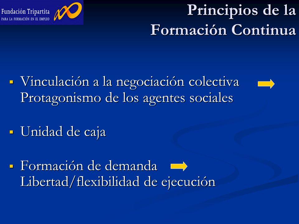 Principios de la Formación Continua  Vinculación a la negociación colectiva Protagonismo de los agentes sociales  Unidad de caja  Formación de demanda Libertad/flexibilidad de ejecución
