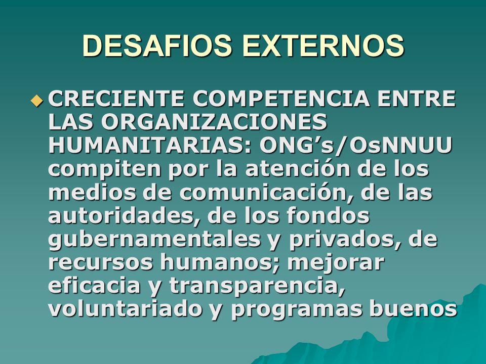 DESAFIOS EXTERNOS  CRECIENTE COMPETENCIA ENTRE LAS ORGANIZACIONES HUMANITARIAS: ONG's/OsNNUU compiten por la atención de los medios de comunicación, de las autoridades, de los fondos gubernamentales y privados, de recursos humanos; mejorar eficacia y transparencia, voluntariado y programas buenos