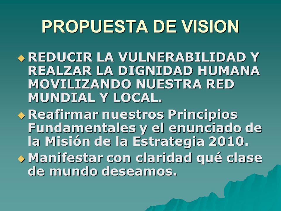 PROPUESTA DE VISION  REDUCIR LA VULNERABILIDAD Y REALZAR LA DIGNIDAD HUMANA MOVILIZANDO NUESTRA RED MUNDIAL Y LOCAL.