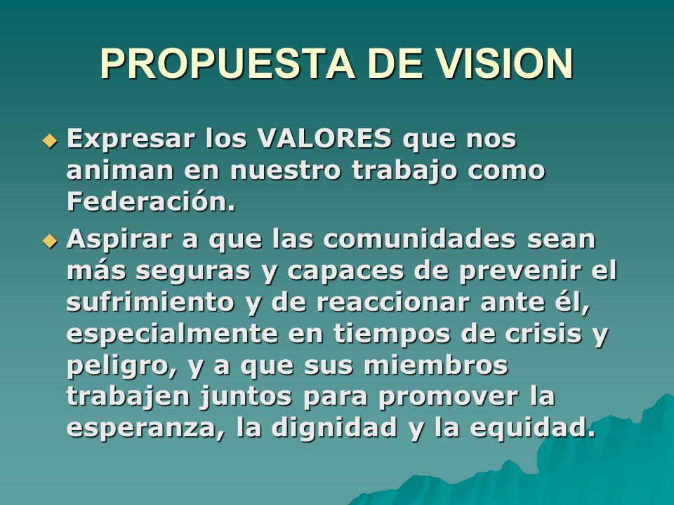 PROPUESTA DE VISION  Expresar los VALORES que nos animan en nuestro trabajo como Federación.