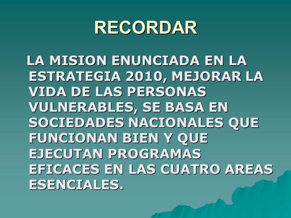 RECORDAR LA MISION ENUNCIADA EN LA ESTRATEGIA 2010, MEJORAR LA VIDA DE LAS PERSONAS VULNERABLES, SE BASA EN SOCIEDADES NACIONALES QUE FUNCIONAN BIEN Y QUE EJECUTAN PROGRAMAS EFICACES EN LAS CUATRO AREAS ESENCIALES.