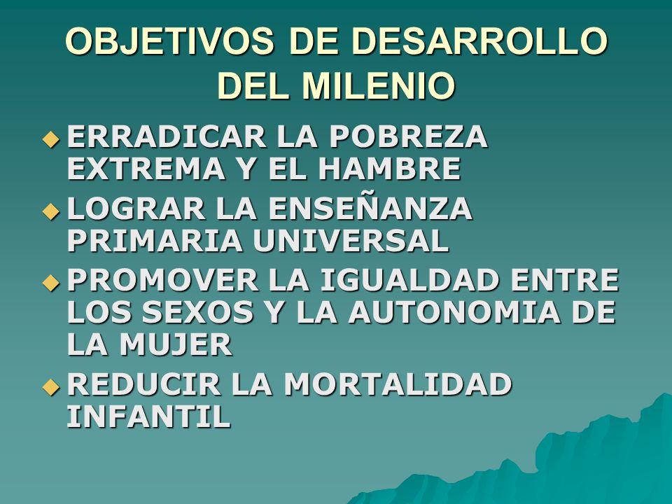 OBJETIVOS DE DESARROLLO DEL MILENIO  ERRADICAR LA POBREZA EXTREMA Y EL HAMBRE  LOGRAR LA ENSEÑANZA PRIMARIA UNIVERSAL  PROMOVER LA IGUALDAD ENTRE LOS SEXOS Y LA AUTONOMIA DE LA MUJER  REDUCIR LA MORTALIDAD INFANTIL