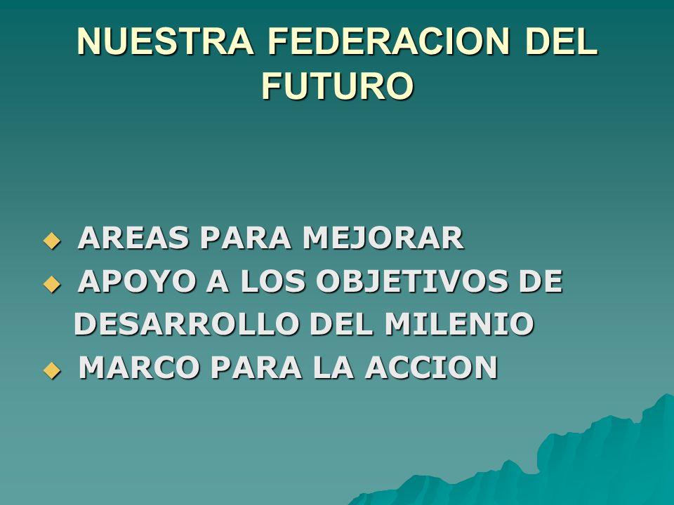 NUESTRA FEDERACION DEL FUTURO  AREAS PARA MEJORAR  APOYO A LOS OBJETIVOS DE DESARROLLO DEL MILENIO DESARROLLO DEL MILENIO  MARCO PARA LA ACCION