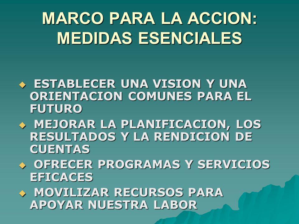 MARCO PARA LA ACCION: MEDIDAS ESENCIALES  ESTABLECER UNA VISION Y UNA ORIENTACION COMUNES PARA EL FUTURO  MEJORAR LA PLANIFICACION, LOS RESULTADOS Y LA RENDICION DE CUENTAS  OFRECER PROGRAMAS Y SERVICIOS EFICACES  MOVILIZAR RECURSOS PARA APOYAR NUESTRA LABOR