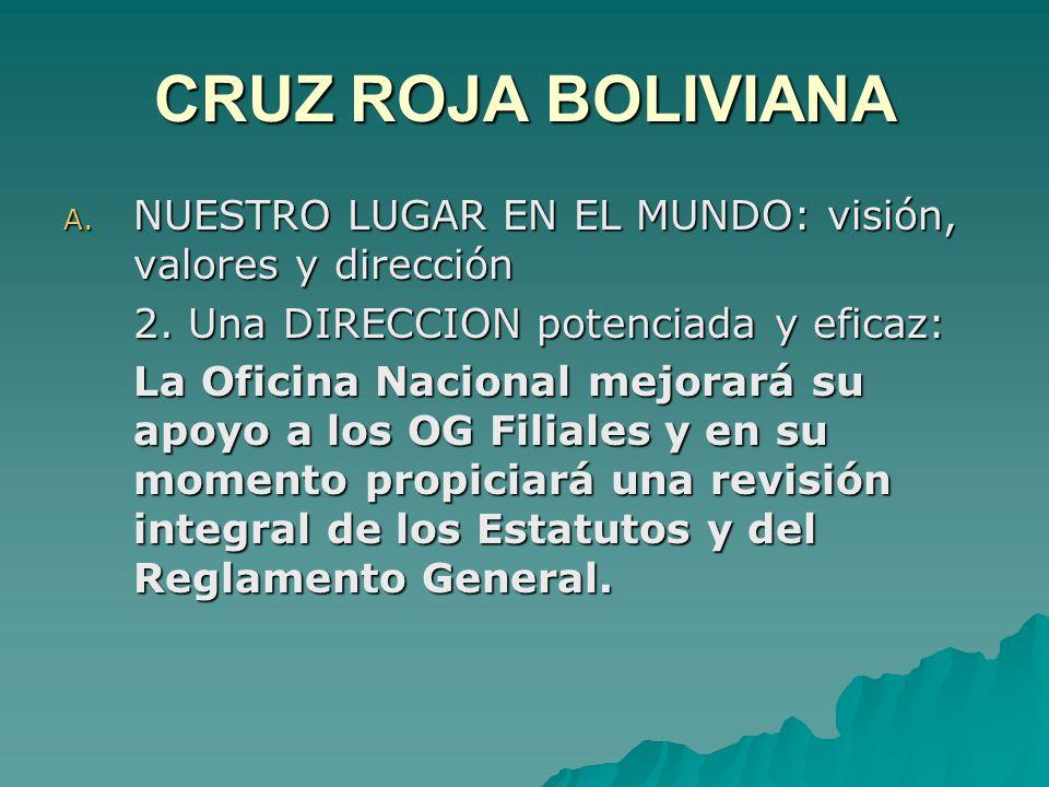 CRUZ ROJA BOLIVIANA A. NUESTRO LUGAR EN EL MUNDO: visión, valores y dirección 2.