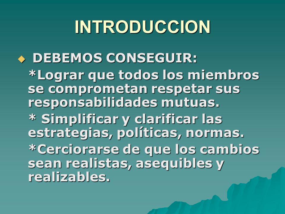 INTRODUCCION  DEBEMOS CONSEGUIR: *Lograr que todos los miembros se comprometan respetar sus responsabilidades mutuas.