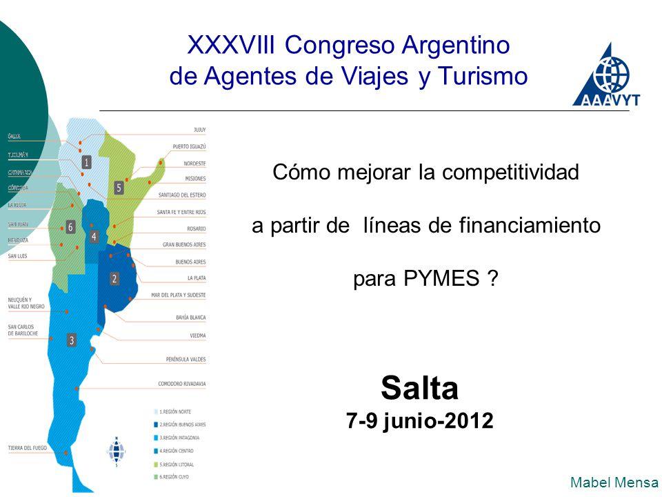 XXXVIII Congreso Argentino de Agentes de Viajes y Turismo Cómo mejorar la competitividad a partir de líneas de financiamiento para PYMES .
