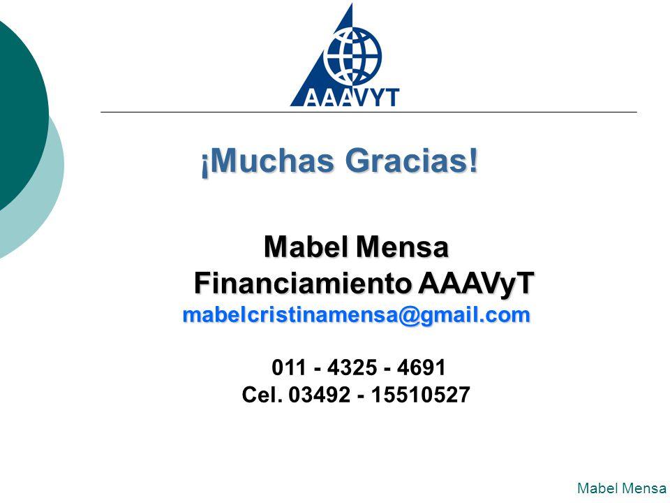Mabel Mensa Financiamiento AAAVyT Financiamiento AAAVyTmabelcristinamensa@gmail.com 011 - 4325 - 4691 Cel.
