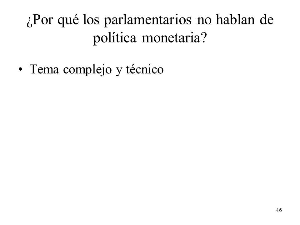 46 ¿Por qué los parlamentarios no hablan de política monetaria Tema complejo y técnico