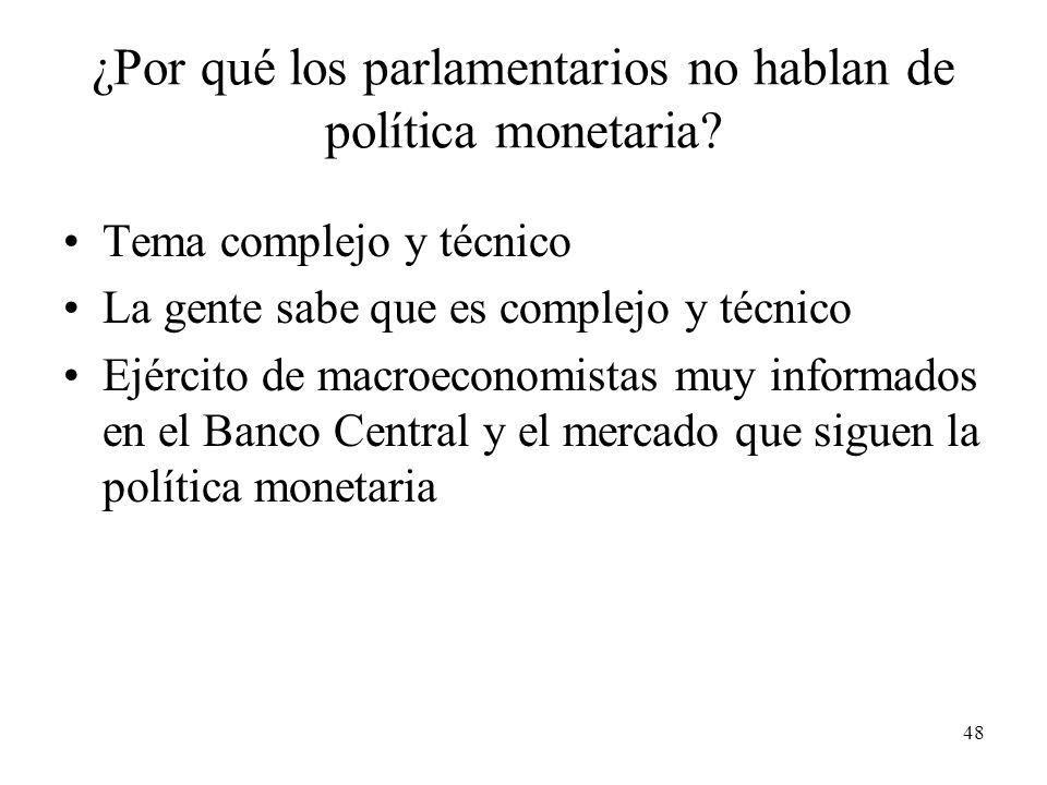 48 ¿Por qué los parlamentarios no hablan de política monetaria.