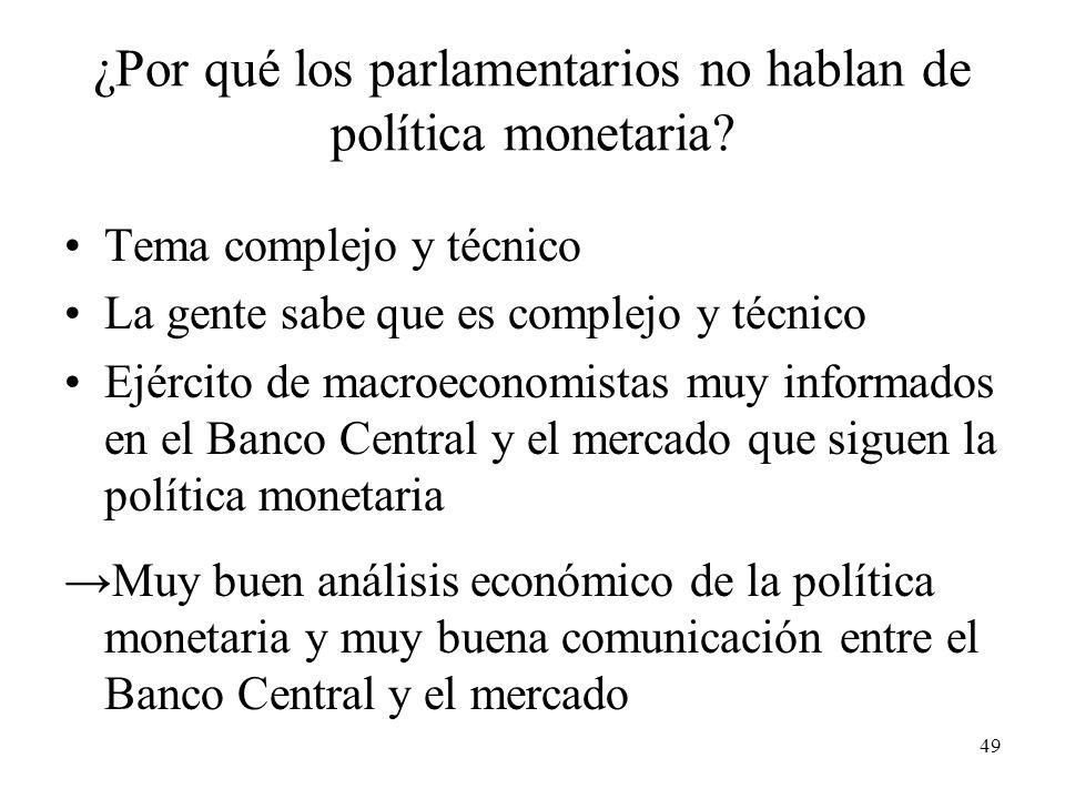 49 ¿Por qué los parlamentarios no hablan de política monetaria.