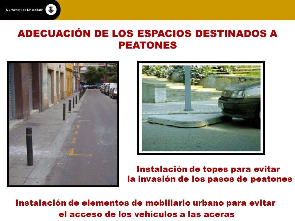 ADECUACIÓN DE LOS ESPACIOS DESTINADOS A PEATONES Instalación de topes para evitar la invasión de los pasos de peatones Instalación de elementos de mobiliario urbano para evitar el acceso de los vehículos a las aceras