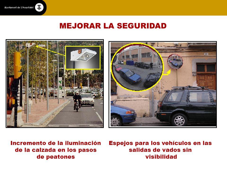 MEJORAR LA SEGURIDAD Incremento de la iluminación de la calzada en los pasos de peatones Espejos para los vehículos en las salidas de vados sin visibilidad