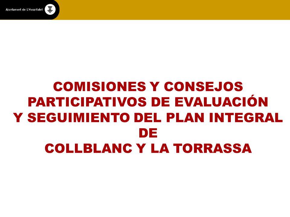 COMISIONES Y CONSEJOS PARTICIPATIVOS DE EVALUACIÓN Y SEGUIMIENTO DEL PLAN INTEGRAL DE COLLBLANC Y LA TORRASSA