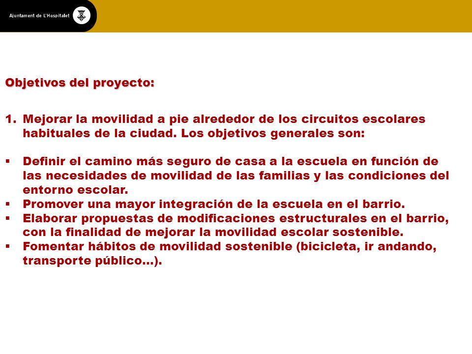 Objetivos del proyecto: 1.Mejorar la movilidad a pie alrededor de los circuitos escolares habituales de la ciudad.