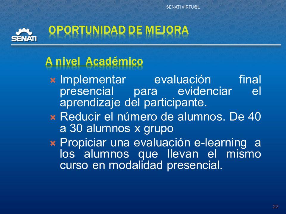 SENATI VIRTU@L 22  Implementar evaluación final presencial para evidenciar el aprendizaje del participante.