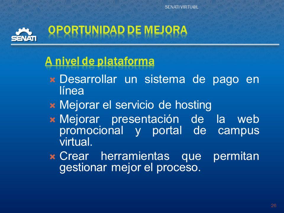 SENATI VIRTU@L 26  Desarrollar un sistema de pago en línea  Mejorar el servicio de hosting  Mejorar presentación de la web promocional y portal de campus virtual.