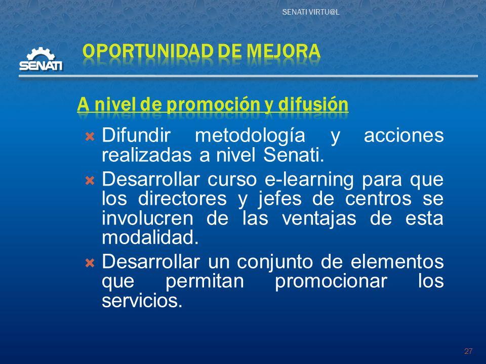SENATI VIRTU@L 27  Difundir metodología y acciones realizadas a nivel Senati.