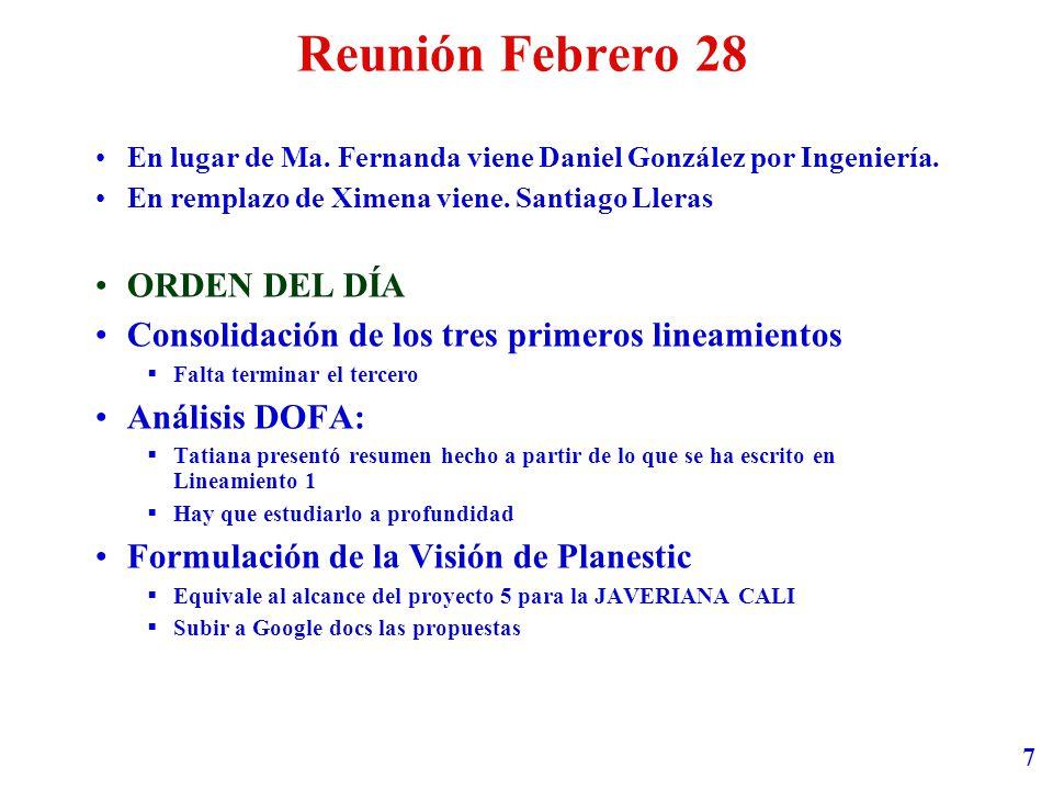 7 Reunión Febrero 28 En lugar de Ma. Fernanda viene Daniel González por Ingeniería.