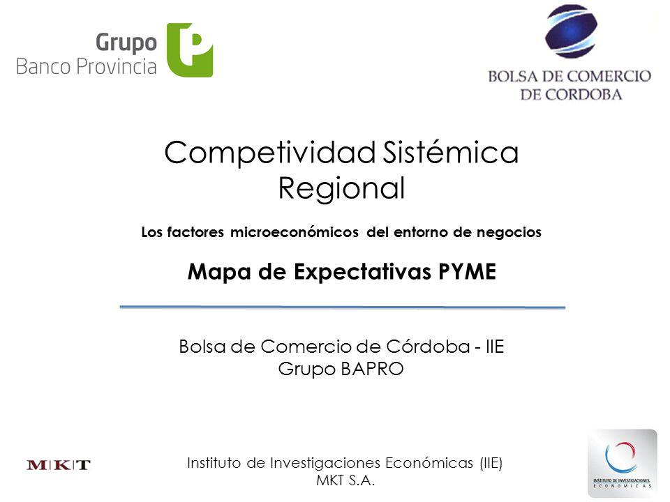 Competividad Sistémica Regional Los factores microeconómicos del entorno de negocios Bolsa de Comercio de Córdoba - IIE Grupo BAPRO Mapa de Expectativas PYME Instituto de Investigaciones Económicas (IIE) MKT S.A.