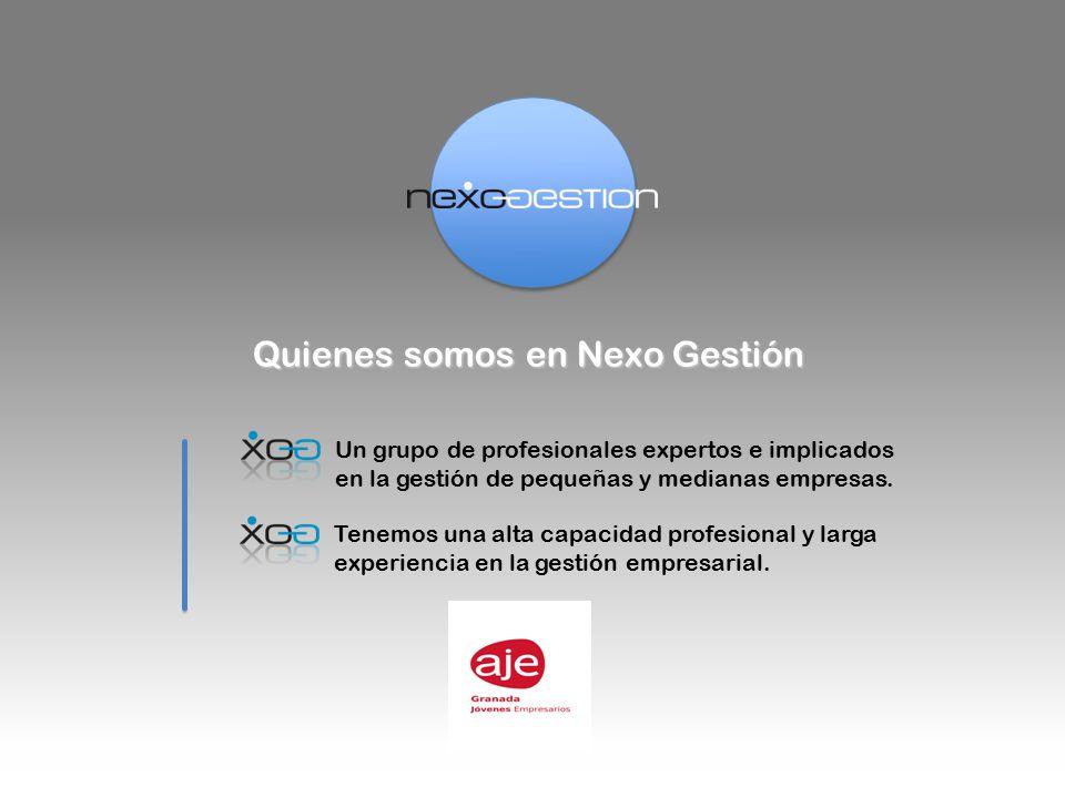 Quienes somos en Nexo Gestión Un grupo de profesionales expertos e implicados en la gestión de pequeñas y medianas empresas.