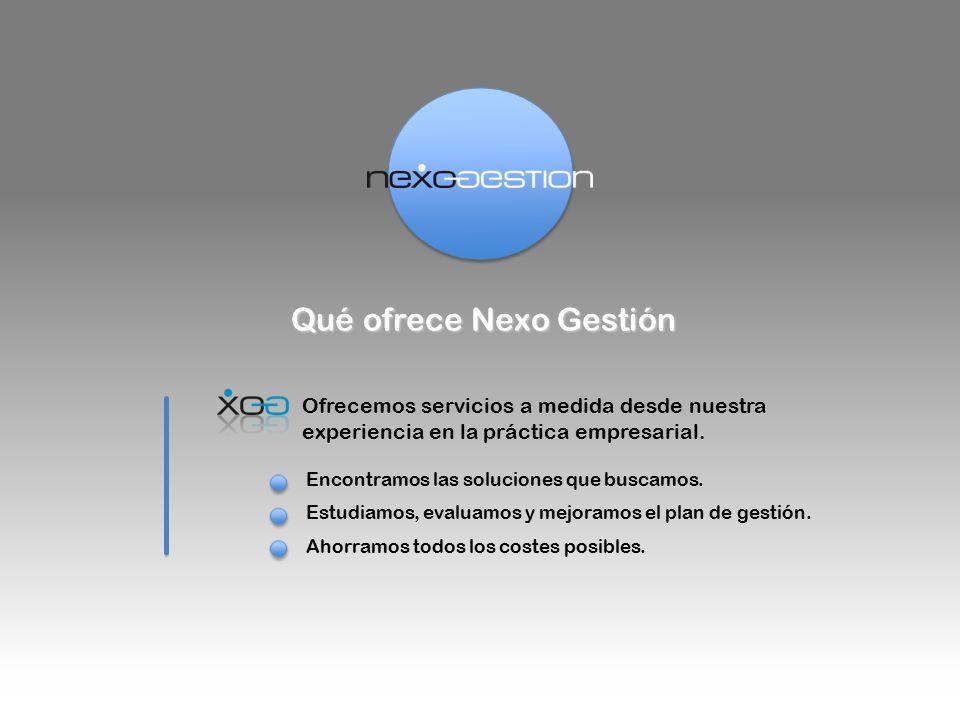 Qué ofrece Nexo Gestión Ofrecemos servicios a medida desde nuestra experiencia en la práctica empresarial.