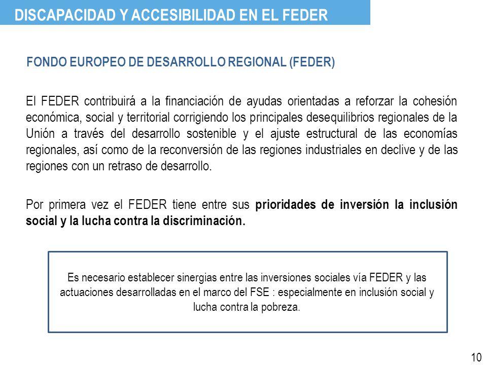 FONDO EUROPEO DE DESARROLLO REGIONAL (FEDER) El FEDER contribuirá a la financiación de ayudas orientadas a reforzar la cohesión económica, social y territorial corrigiendo los principales desequilibrios regionales de la Unión a través del desarrollo sostenible y el ajuste estructural de las economías regionales, así como de la reconversión de las regiones industriales en declive y de las regiones con un retraso de desarrollo.