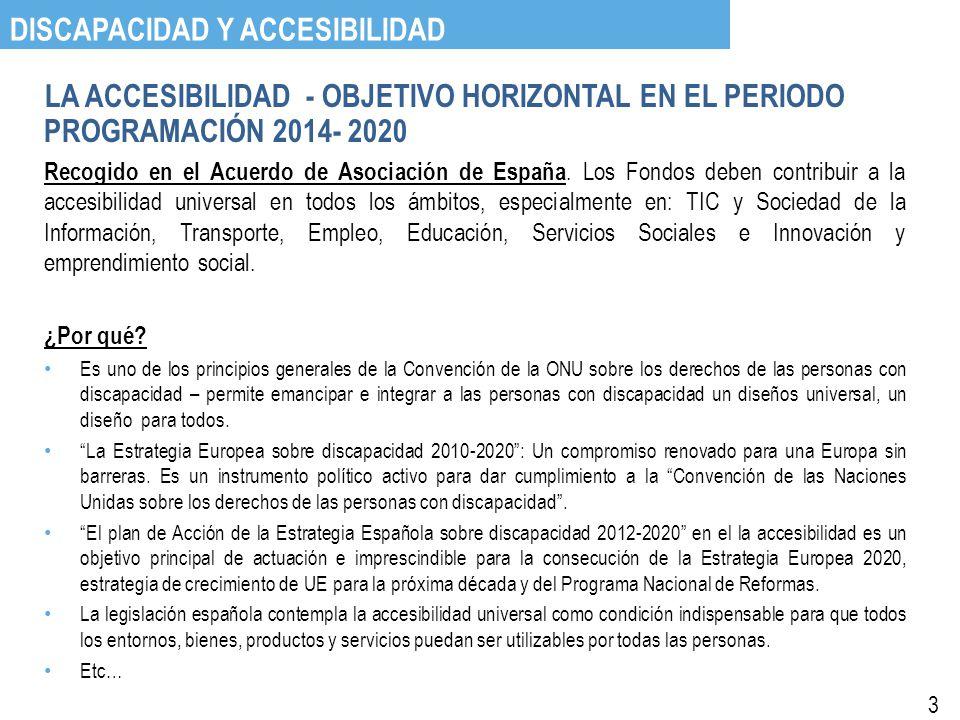 LA ACCESIBILIDAD - OBJETIVO HORIZONTAL EN EL PERIODO PROGRAMACIÓN 2014- 2020 Recogido en el Acuerdo de Asociación de España.