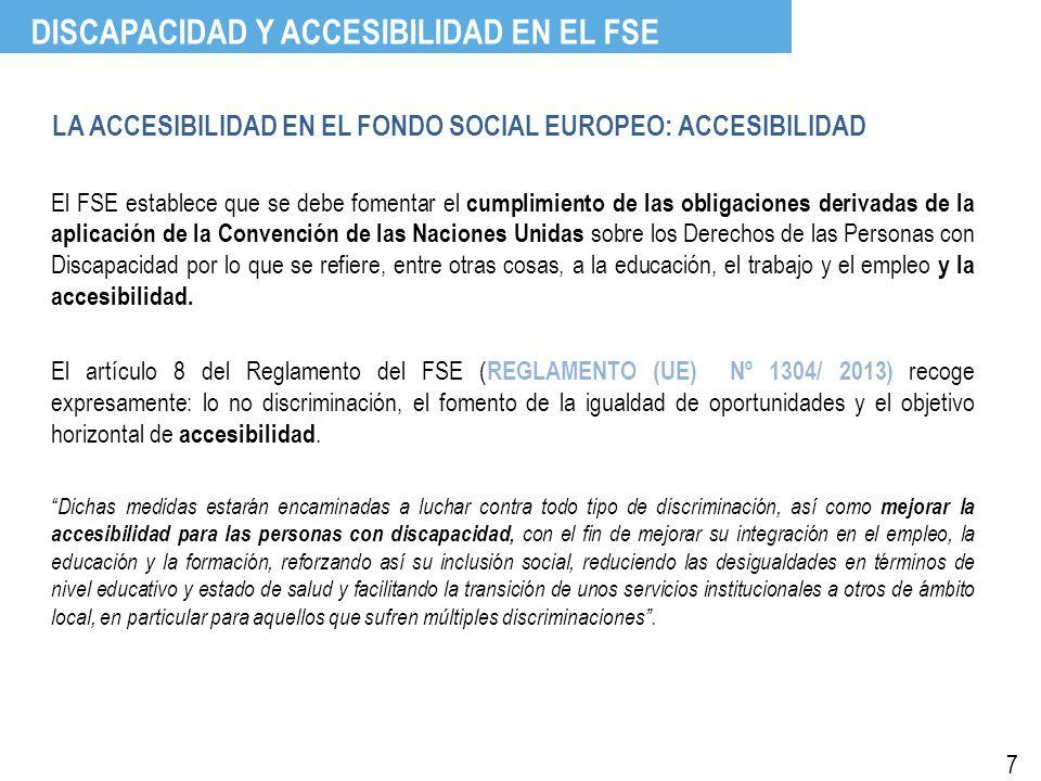 LA ACCESIBILIDAD EN EL FONDO SOCIAL EUROPEO: ACCESIBILIDAD El FSE establece que se debe fomentar el cumplimiento de las obligaciones derivadas de la aplicación de la Convención de las Naciones Unidas sobre los Derechos de las Personas con Discapacidad por lo que se refiere, entre otras cosas, a la educación, el trabajo y el empleo y la accesibilidad.