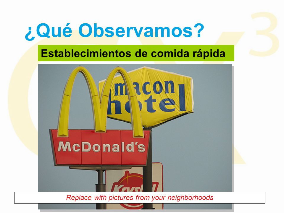 ¿Qué Observamos Establecimientos de comida rápida Replace with pictures from your neighborhoods