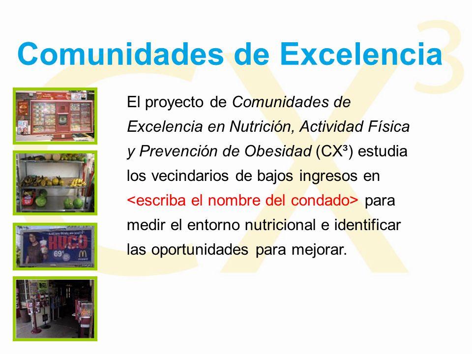 Comunidades de Excelencia El proyecto de Comunidades de Excelencia en Nutrición, Actividad Física y Prevención de Obesidad (CX³) estudia los vecindarios de bajos ingresos en para medir el entorno nutricional e identificar las oportunidades para mejorar.