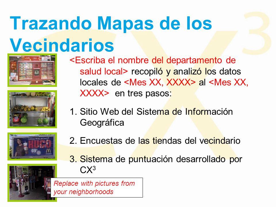 Trazando Mapas de los Vecindarios recopiló y analizó los datos locales de al en tres pasos: 1.Sitio Web del Sistema de Información Geográfica 2.Encuestas de las tiendas del vecindario 3.Sistema de puntuación desarrollado por CX 3 Replace with pictures from your neighborhoods