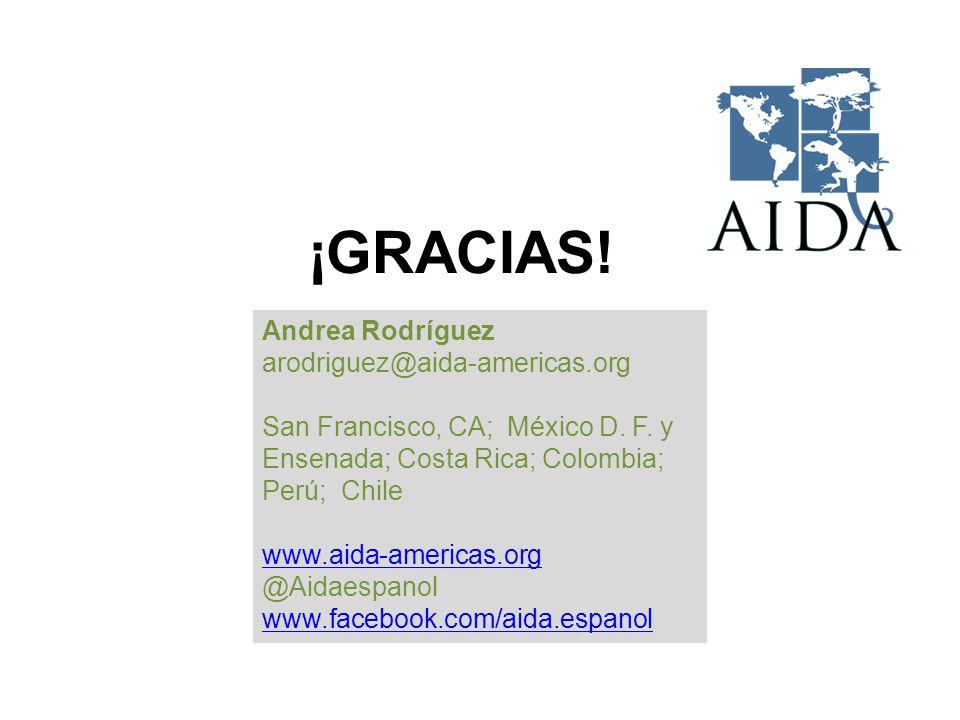 ¡GRACIAS. Andrea Rodríguez arodriguez@aida-americas.org San Francisco, CA; México D.