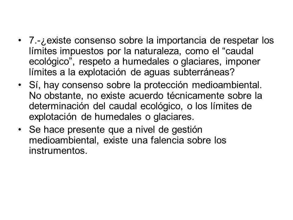 7.-¿existe consenso sobre la importancia de respetar los límites impuestos por la naturaleza, como el caudal ecológico , respeto a humedales o glaciares, imponer límites a la explotación de aguas subterráneas.