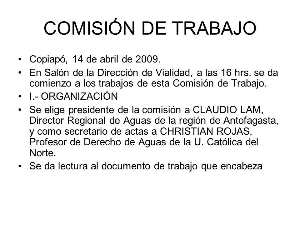 COMISIÓN DE TRABAJO Copiapó, 14 de abril de 2009.