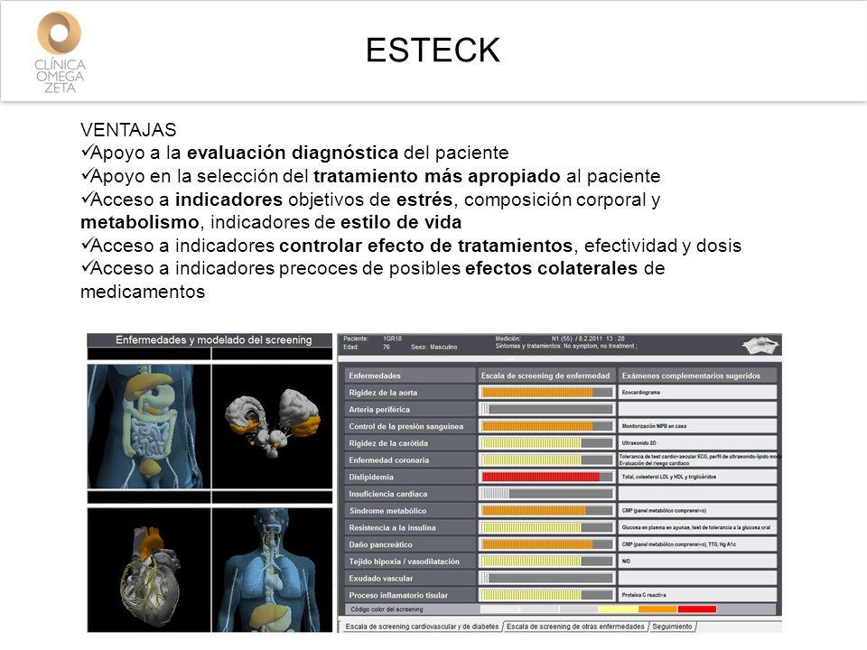 VENTAJAS Apoyo a la evaluación diagnóstica del paciente Apoyo en la selección del tratamiento más apropiado al paciente Acceso a indicadores objetivos de estrés, composición corporal y metabolismo, indicadores de estilo de vida Acceso a indicadores controlar efecto de tratamientos, efectividad y dosis Acceso a indicadores precoces de posibles efectos colaterales de medicamentos ESTECK