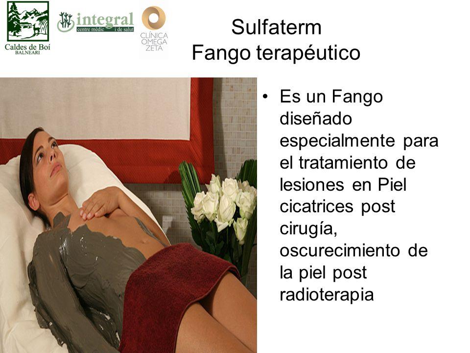 Sulfaterm Fango terapéutico Es un Fango diseñado especialmente para el tratamiento de lesiones en Piel cicatrices post cirugía, oscurecimiento de la piel post radioterapia