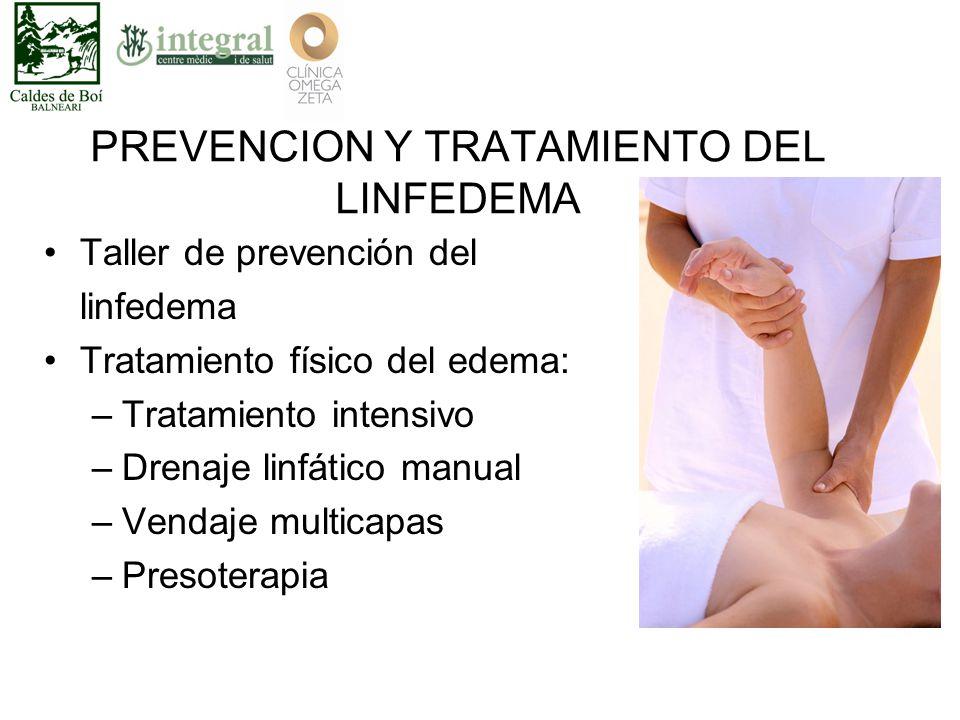 PREVENCION Y TRATAMIENTO DEL LINFEDEMA Taller de prevención del linfedema Tratamiento físico del edema: –Tratamiento intensivo –Drenaje linfático manual –Vendaje multicapas –Presoterapia